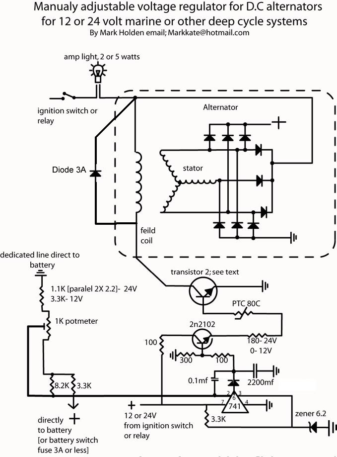 self build adjustable alternator controler Honda Alternator Schematic wiring diagram volt reg